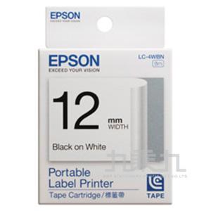 EPSON標籤帶-白底黑字12MM LC-4WBN
