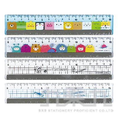 壓克力鐵邊尺/15cm-舒活 RU-10067 (款式隨機)