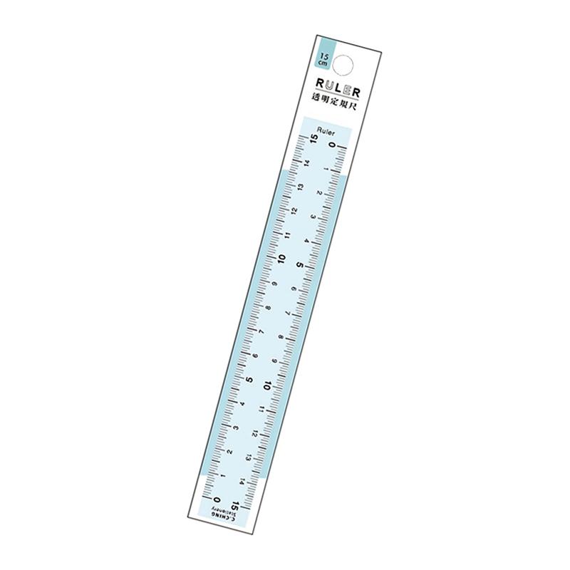 15cm透明定規尺(藍)-CHOICE