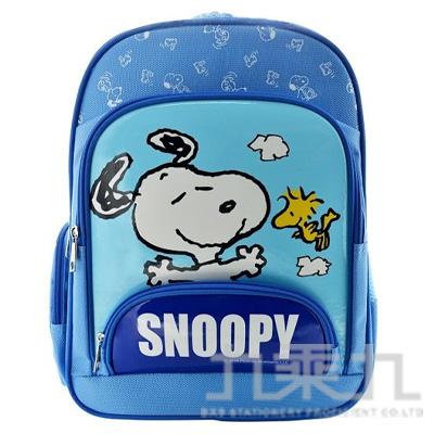SNOOPY 立體輕量護脊透氣書包-粉藍 (贈便當袋)