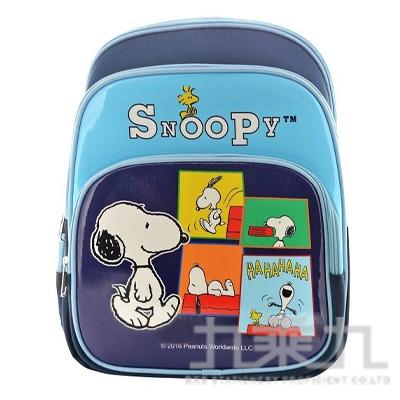 SNOOPY 舒適輕量護脊透氣書包-藍 (贈便當袋)