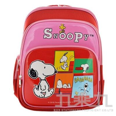 SNOOPY 舒適輕量護脊透氣書包-紅 (贈便當袋)