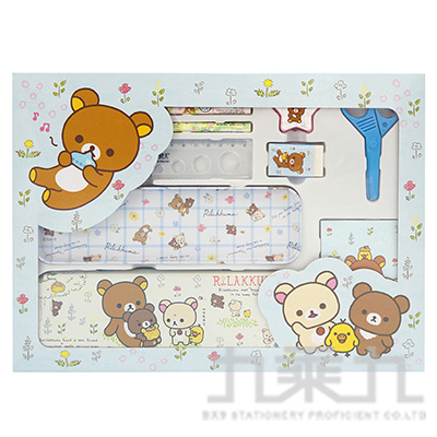 拉拉熊大紙盒文具組-藍版 RK07331B