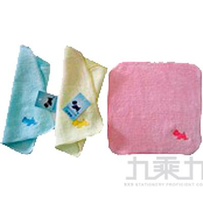 6620 細絨狗家族刺繡小方巾-藍