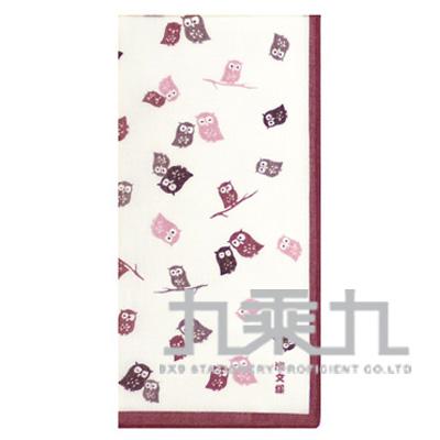 08166和物語手巾-貓頭鷹/粉 50*50cm
