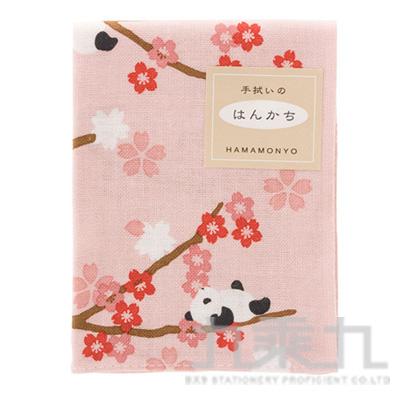 和物語手帕 熊貓花賞 粉紅 19027