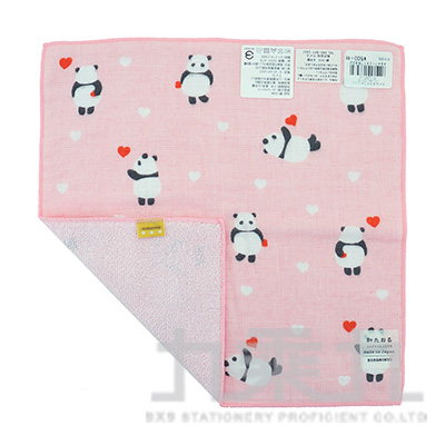 17893濱紋小方巾-LOVE熊貓-粉 25*25cm