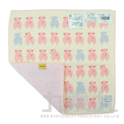 42043濱紋小方巾-小豬排排站25X25cm
