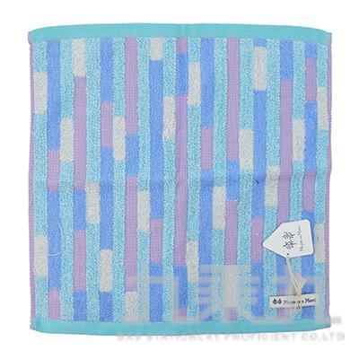 MGE-3001GeometricbyMoyoonoMori多重矩形藍方巾34x34