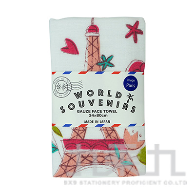 MWS-8015World Souvenir 洗臉長毛巾-時尚巴黎 34x80