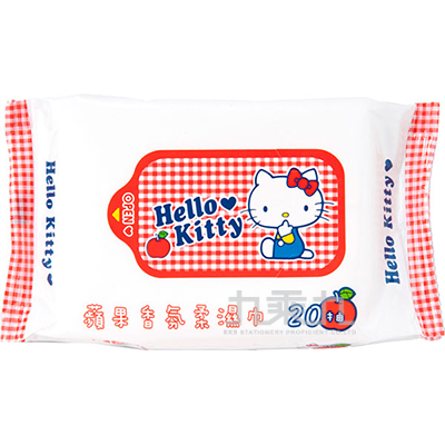 Hello Kitty 蘋果香柔濕巾-20抽