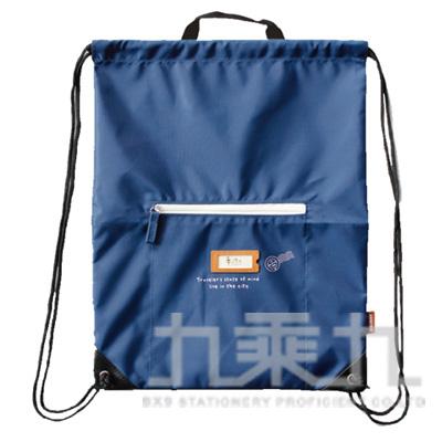 手作之 皮標束口後背包-藍 SBG-237C
