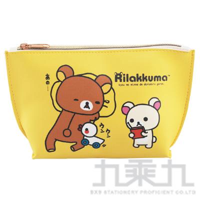 拉拉熊皮革三角化妝包車車黃版 RKB21101B