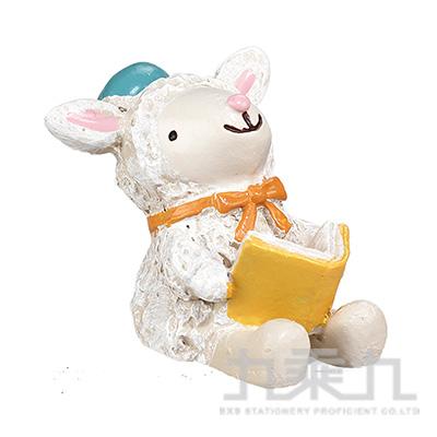 療癒擺飾小物-小羊看書