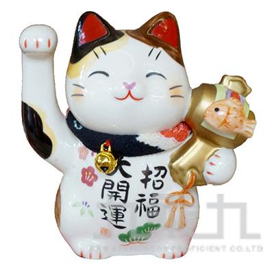 95#彩繪招福大開運項圈招財貓(3號)9cm 7458