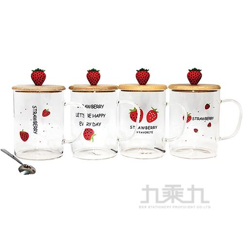 草莓木蓋直身玻璃杯-4款 GE027Z(款式隨機出貨)
