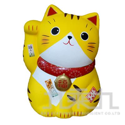 95#錦彩福來招財貓撲滿-特大黃19.5cm 7511