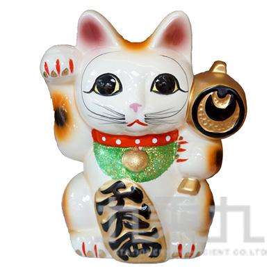 95#招財貓撲滿-中白16cm K3563