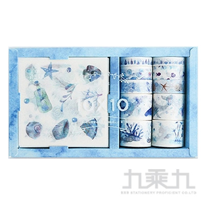 紙膠帶X貼紙套裝-深藍童話