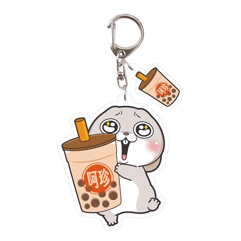 壓克力造型鑰匙圈(珍珠奶茶)-好想兔