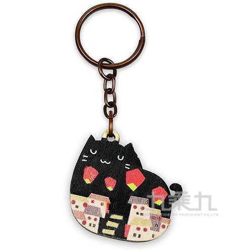 印刻所木鑰匙圈-夜貓子