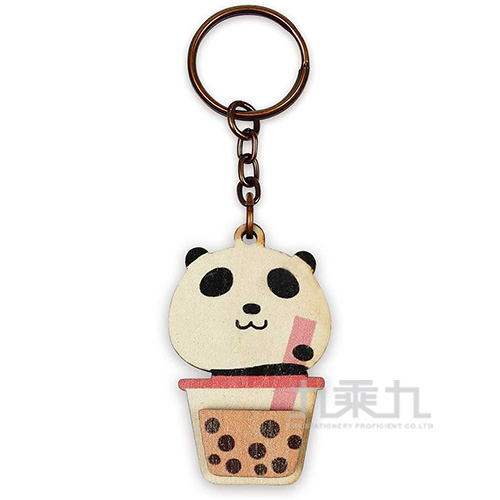 印刻所木鑰匙圈-熊貓珍珠