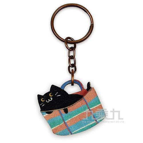 印刻所木鑰匙圈-茄芷袋貓