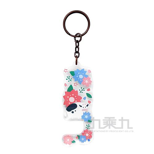 手機架鑰匙圈-櫻花牛牛 3241