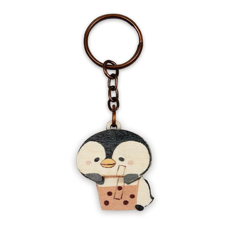 印刻所木鑰匙圈-企鵝珍奶