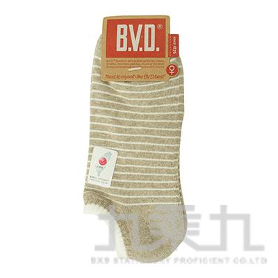 BVD條紋毛巾底女踝襪-麻卡其 B208-2