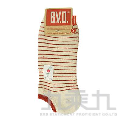 BVD條紋毛巾底女踝襪-彩麻花 B208-3