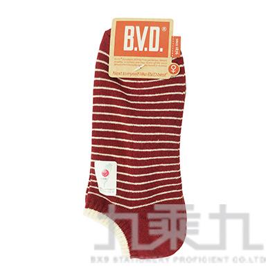 BVD條紋毛巾底女踝襪-麻酒紅 B208-5