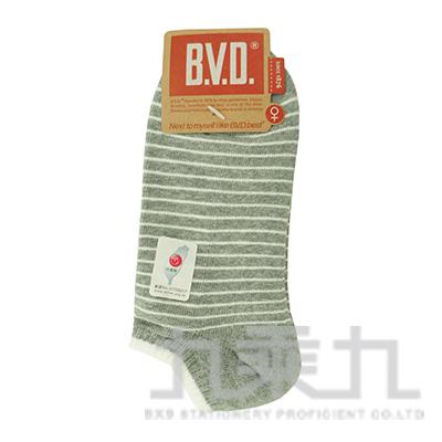 BVD條紋毛巾底女踝襪-中灰 B208-7