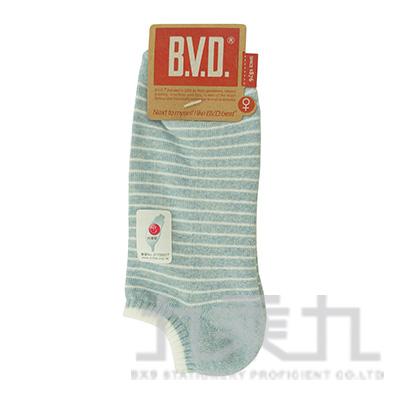 BVD條紋毛巾底女踝襪-麻天藍 B208-8