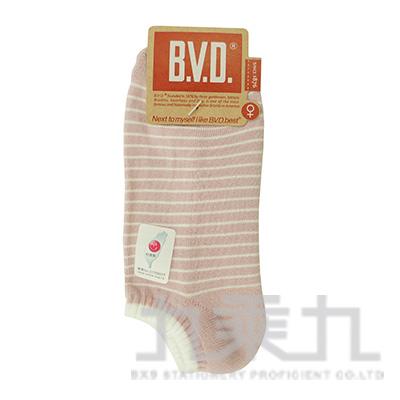 BVD條紋毛巾底女踝襪-灰粉 B208-9