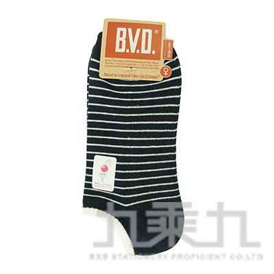 BVD條紋毛巾底女踝襪-丈青 B208-11
