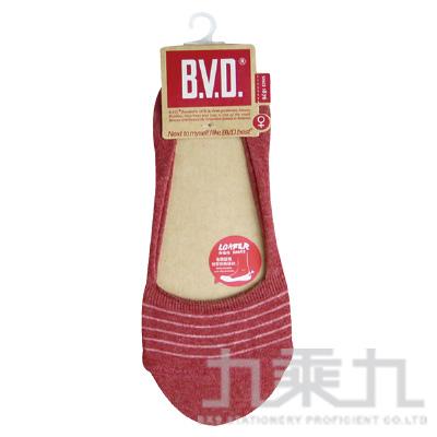 BVD簡約條紋休閒女襪套-暗紅 B248-07-00