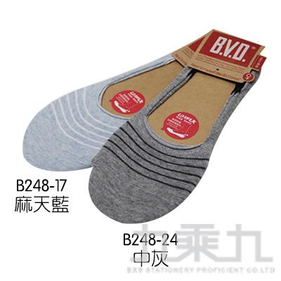 BVD簡約條紋休閒女襪套-中灰 B248-24-00