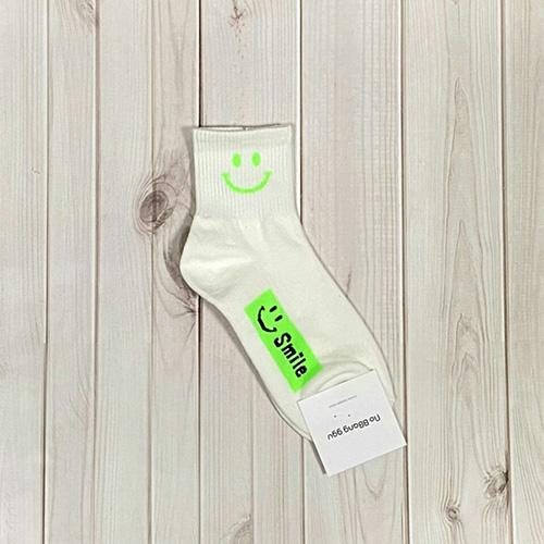 韓國中筒襪-螢光微笑-螢光綠