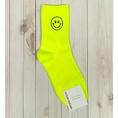 韓國中筒襪-鏤空笑臉-螢光綠