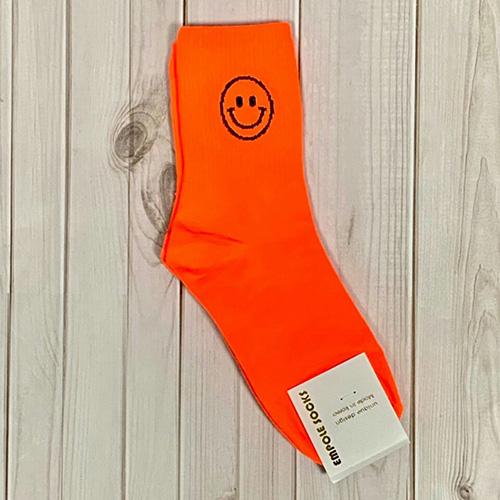 韓國中筒襪-鏤空笑臉-螢光橘