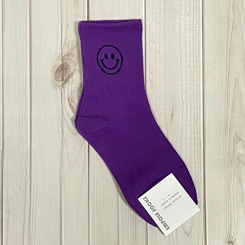 韓國中筒襪-鏤空笑臉-紫