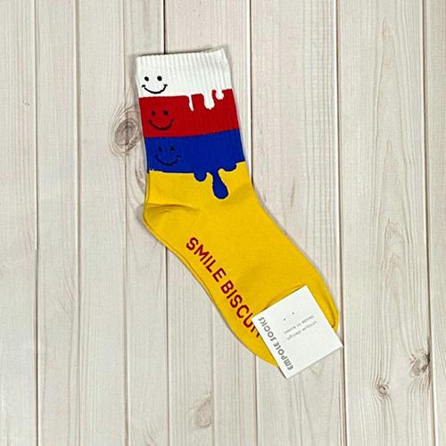韓國中筒襪-微笑融化-黃底