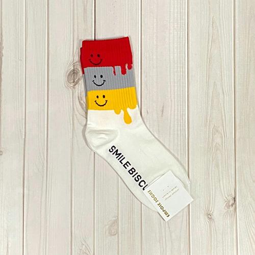 韓國中筒襪-微笑融化-白底