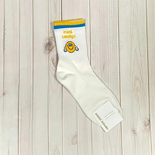 韓國中筒襪-可愛糖果-黃