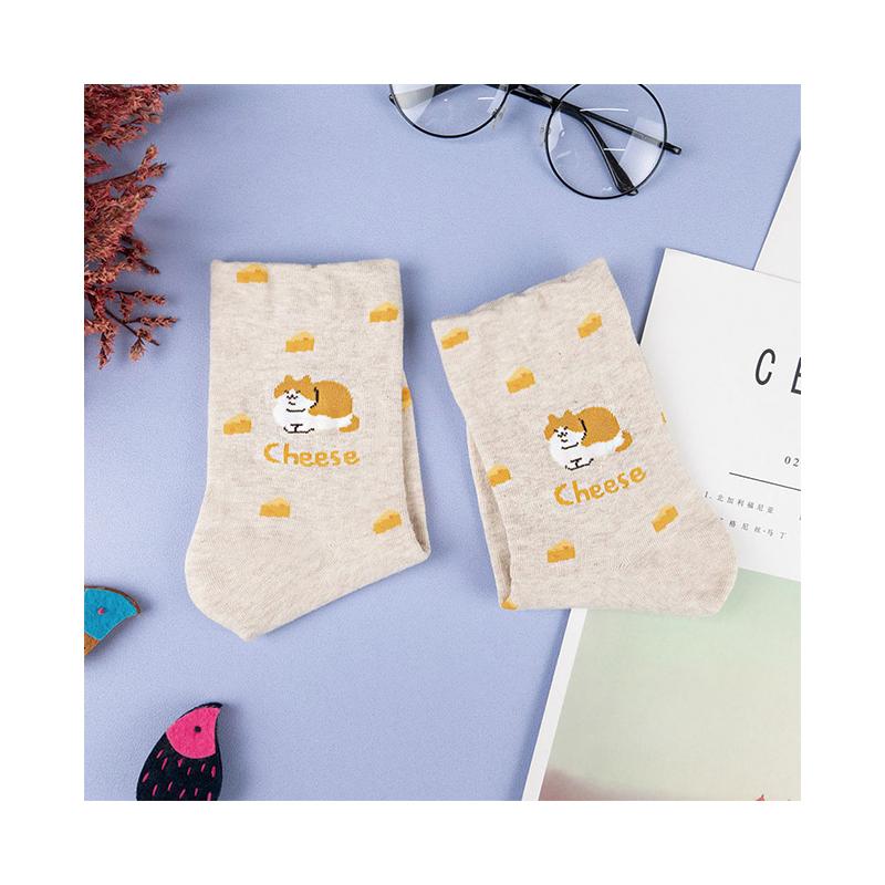 韓國中筒襪-動物英文-米白底