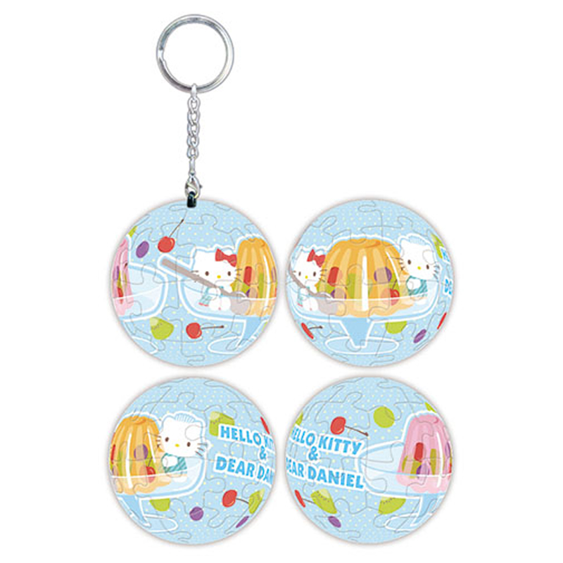 Hello Kitty&Dear Daniel 香甜果凍立體球型拼圖鑰匙圈