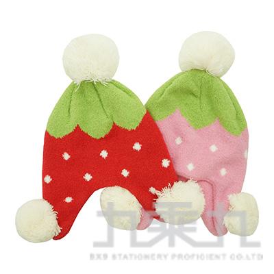 童羽毛可愛草莓碰碰護耳帽 K1246 (款式隨機)