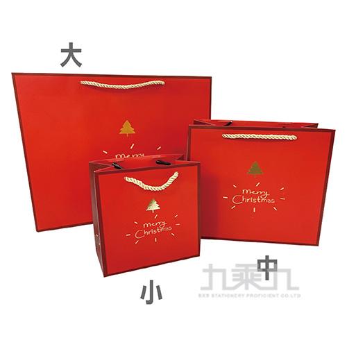 紅色聖誕燙金手提袋-中 MX7006-2
