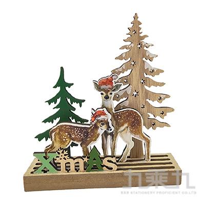 聖誕小鹿造型木片擺飾 SL7550